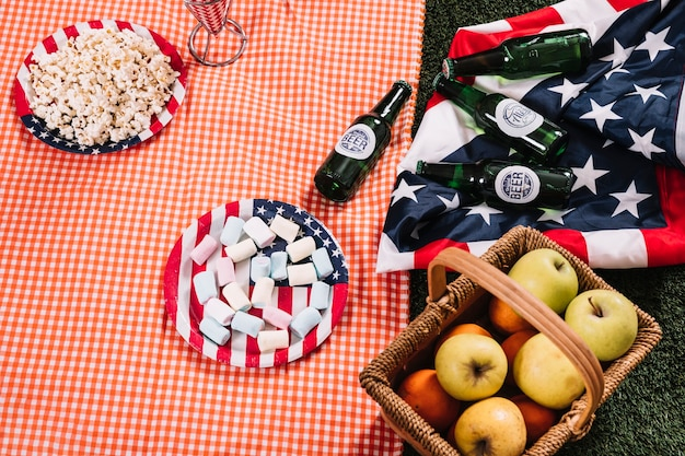 Usa onafhankelijkheidsdag concept met picknick