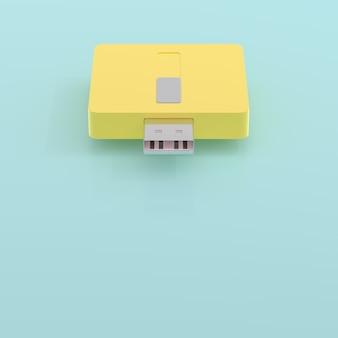 Usb-flitsaandrijving gele en blauwe pastelkleur en exemplaarruimte voor uw 3d tekst, geeft terug.
