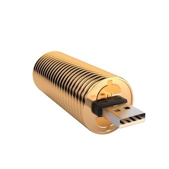 Usb-flitsaandrijving goud op witte achtergrond wordt geïsoleerd die.