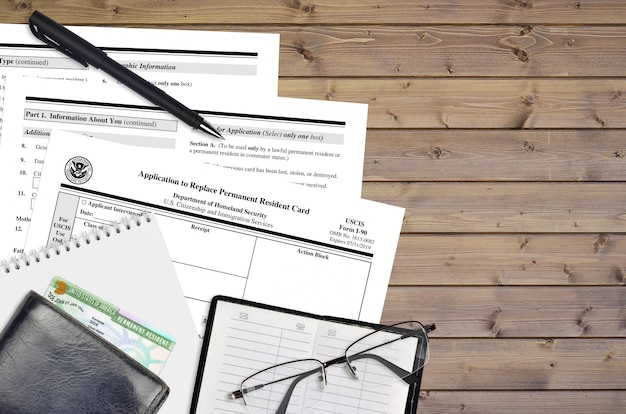 Uscis-formulier i-90 aanvraag om de permanente verblijfsvergunning te vervangen