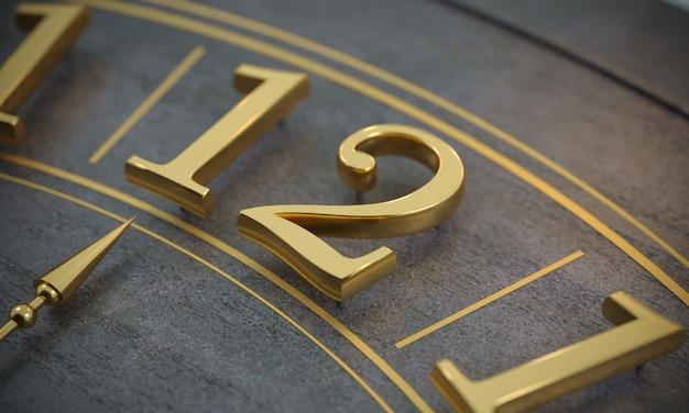 Uur wijzerplaat en tijd met gouden cijfers.