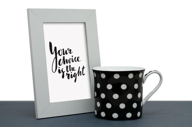 Uw keuze is het juiste. handgeschreven inscriptie in het frame