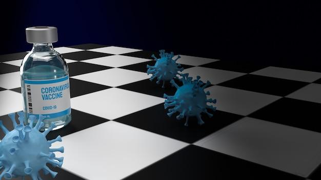 Vaccin en virus op schaakbord voor medische of sci concept 3d-rendering