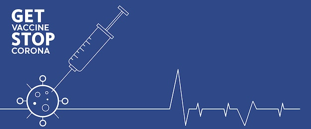 Vaccinatie stopt corona. vlakke stijl, concept van vaccinatie, injectie, geïsoleerde illustratie