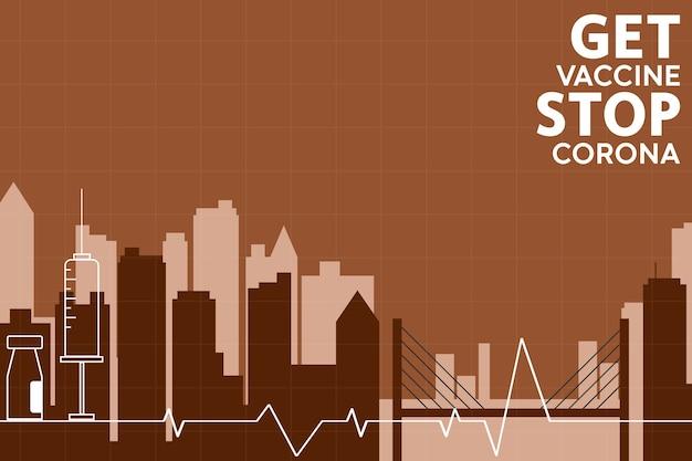 Vaccinatie stopt corona. vlakke stijl, concept van vaccinatie, injectie, stadsillustratie