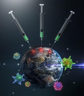 Vaccinatie voor de wereld 3d-rendering. elementen van deze afbeelding geleverd door nasa