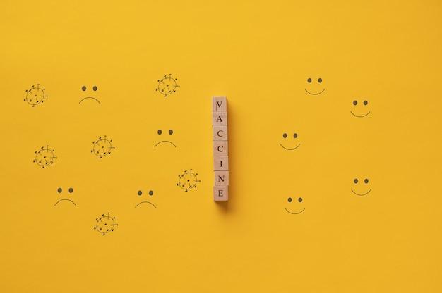 Vaccinenteken gespeld op houten blokken in een conceptueel beeld van de oplossing van de wereldwijde coronaviruspandemie.