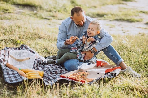 Vader met zijn zoon die picknick in het park heeft