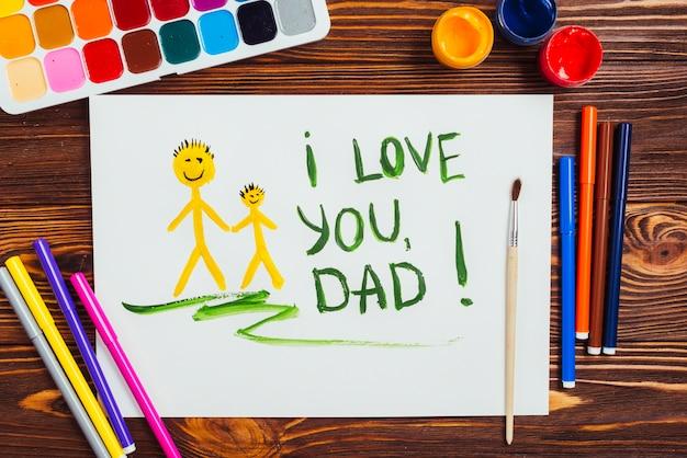 Vaders dag samenstelling met kinderen tekenen