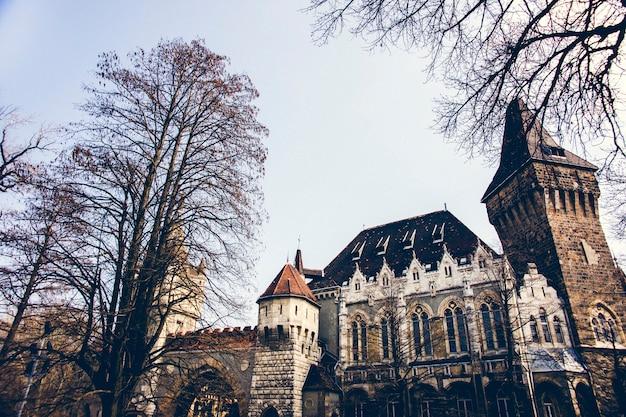 Vajdahunyad castle en jaki chapel, historische attractie voor toeristen.