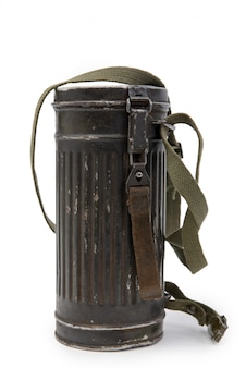 Vak voor gasmasker duitse troepen wehrmacht, tweede wereldoorlog op wit