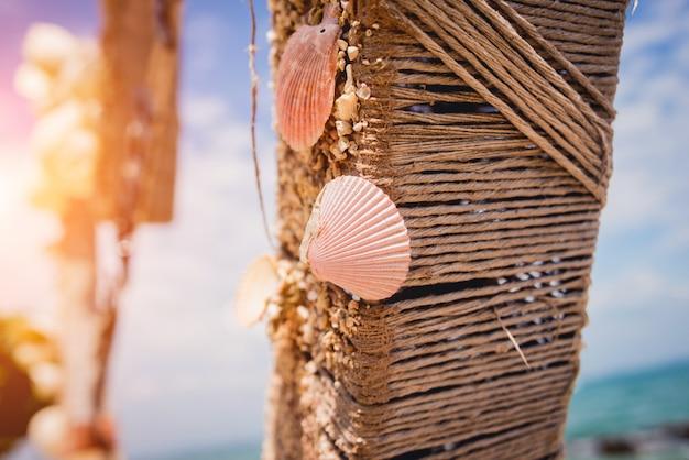 Vakantie decoratie. zomer strand concept. oceaan dieren in het wild.