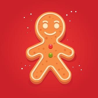 Vakantie gingerbread man cookie. koekje in de vorm van een man met gekleurd suikerglazuur. gelukkig nieuwjaar decoratie. vrolijk kerstfeest. peperkoek in platte stijl