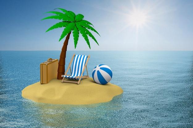 Vakantie op het eiland. 3d illustratie