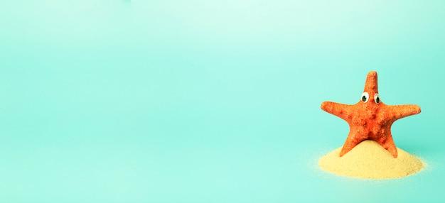 Vakantie, zomer, ontspanning en zee concept banner achtergrond. minimale creatieve compositie met een zeester op een gekleurde schone achtergrond.