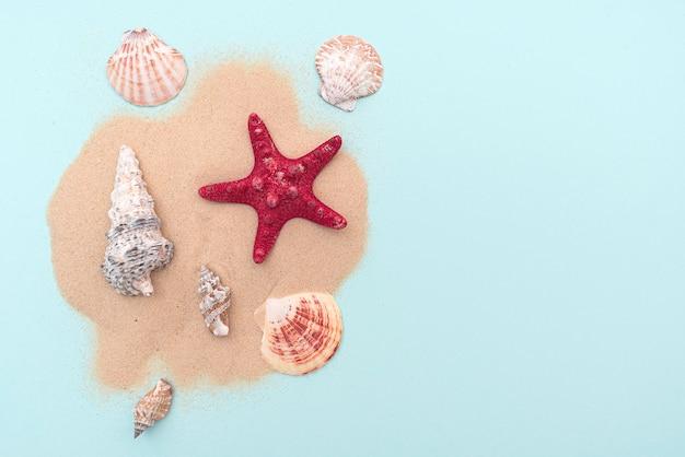 Vakantie, zomervakantie. samenstelling met zand en schelpen, bovenaanzicht. ruimte voor tekst. lay-out voor ideeën.