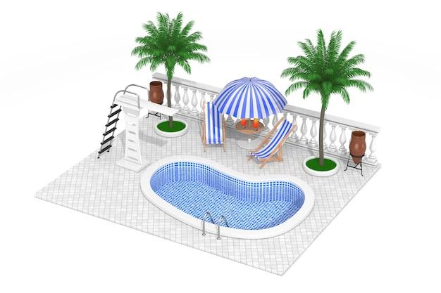 Vakantieconcept. isometrische waterpool, minibar en palmen op een witte achtergrond. 3d-rendering