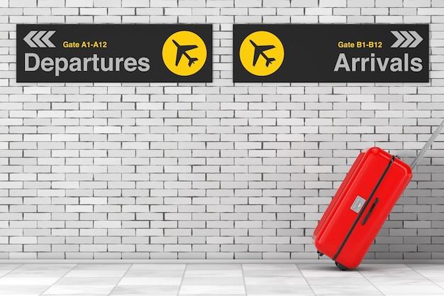 Vakantieconcept. rode koffer van polycarbonaat verhuizen van luchthaven met vertrek- en aankomstinformatiepaneel naar vakantievakantiepunt voor bakstenen muur. 3d-rendering