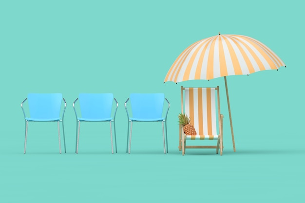 Vakantieconcept. strandstoel, paraplu en ananas in rij met bureaustoelen op een blauwe achtergrond. 3d-rendering