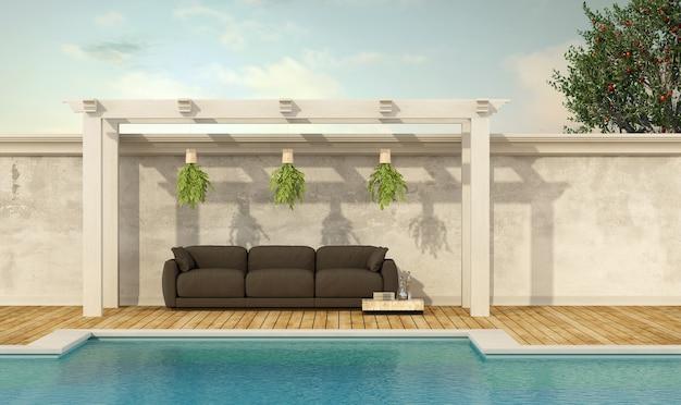 Vakantievilla met zwembad en bank onder een houten prieel