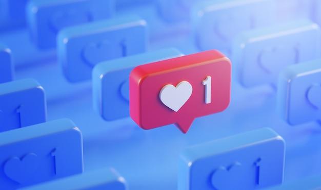 Val op het concept van het pictogram van de melding van de liefde in de rij 3d-rendering blauwe achtergrond
