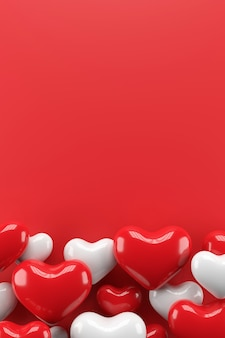 Valentijn achtergrondontwerp. 3d-weergave.