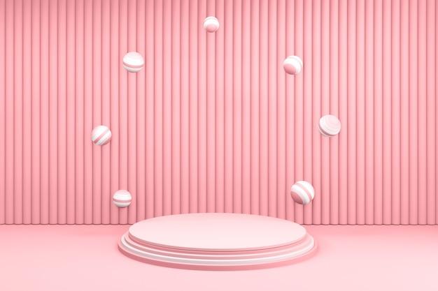 Valentijn podium in liefde platform, valentijn roze podium minimaal ontwerp. 3d-rendering