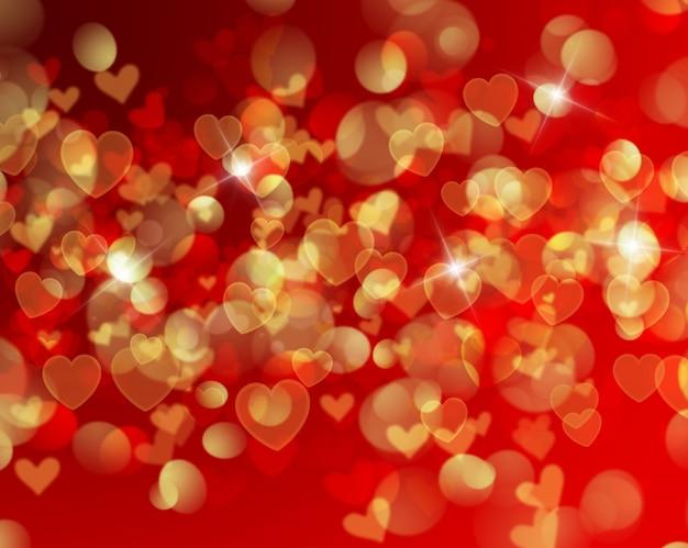 Valentijnsdag achtergrond met hartvormige bokeh lichten
