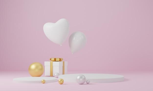 Valentijnsdag achtergrond met platform, harten, ballonnen, podium.