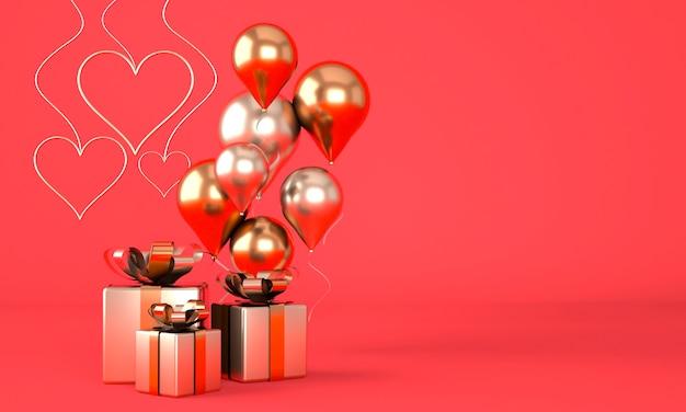 Valentijnsdag achtergrond met realistische feestelijke geschenkdoos. 3d render.