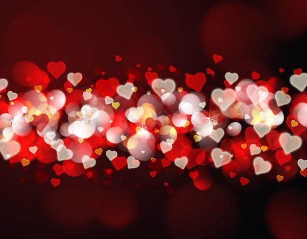 Valentijnsdag achtergrond met rode en gouden bokeh lichten en harten