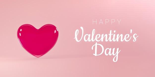 Valentijnsdag achtergrond met vliegend realistisch glazen hart en gelukkige valentijnsdag tekst.