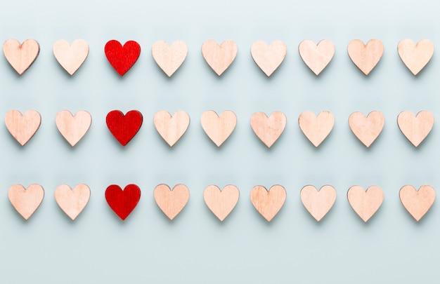 Valentijnsdag achtergrond pastel hartjes op blauwe achtergrond. wenskaart.
