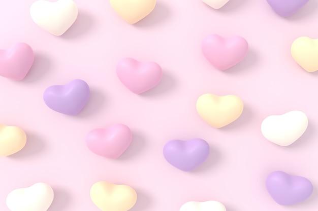 Valentijnsdag achtergrondontwerp. 3d-weergave.