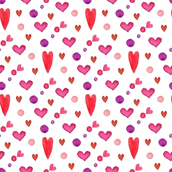 Valentijnsdag. aquarel harten naadloze patroon. romantisch geschilderd