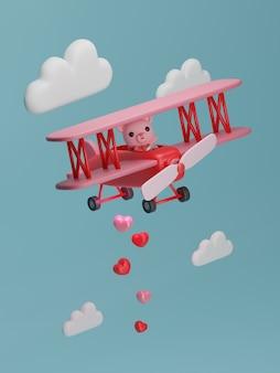 Valentijnsdag banner met beer op vliegtuig.