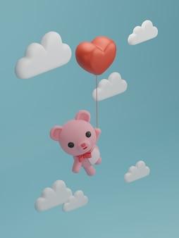 Valentijnsdag banner met beer vliegen met ballon.