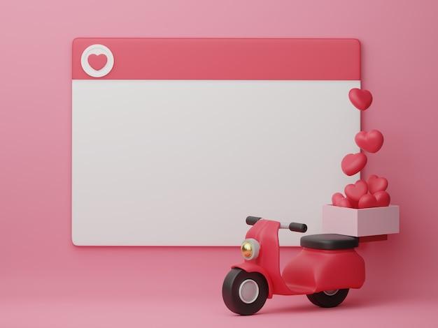 Valentijnsdag banner met decoratie voor ontwerpsjabloon. 3d-weergave.
