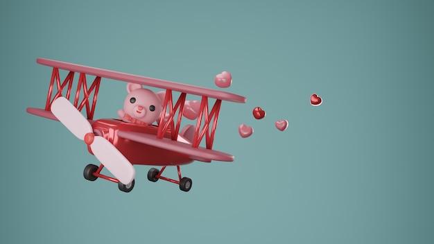 Valentijnsdag banner met hart en schattige beer op vliegtuig.