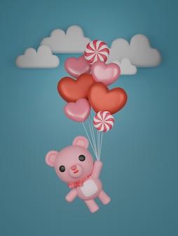 Valentijnsdag banner met schattige beer en ballonnen.