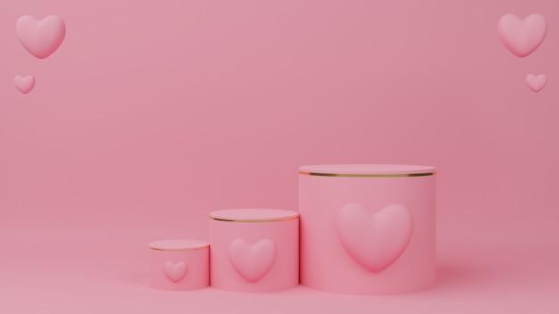 Valentijnsdag concept. cirkel podium roze pastelkleur met gouden rand, drie rang en roze hartballon.