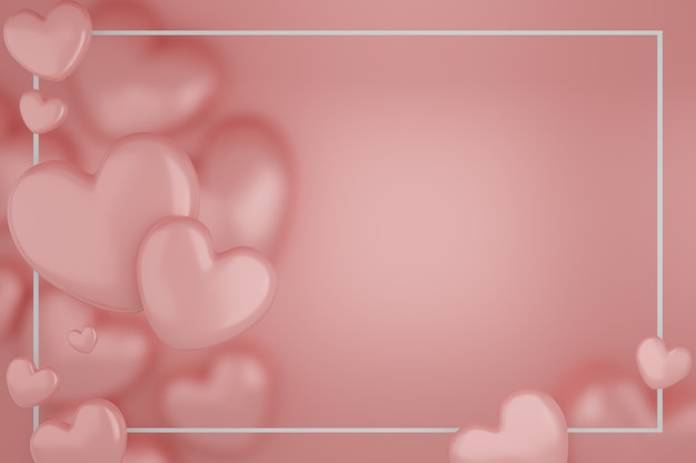 Valentijnsdag concept, roze harten ballonnen op roze achtergrond. 3d-weergave. lege ruimte voor tekst.