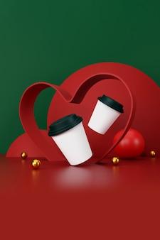 Valentijnsdag concept. witte kop koffie op groene en rode achtergrond. 3d illustratie