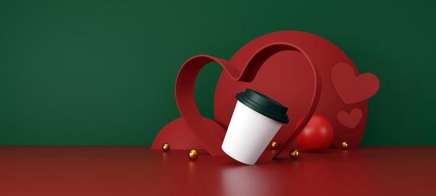 Valentijnsdag concept witte kop koffie op groene en rode achtergrond 3d illustratie