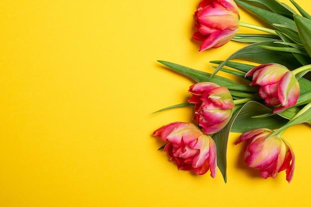 Valentijnsdag dames moederdag 8 maart lente roze tulpen op geel