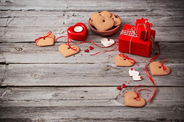 Valentijnsdag decoratie op oude ruimte