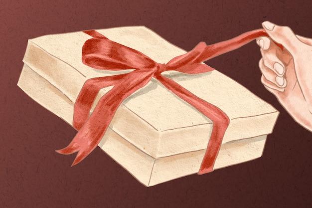Valentijnsdag geschenkdoos wordt uitgepakt met de hand getekende illustratie