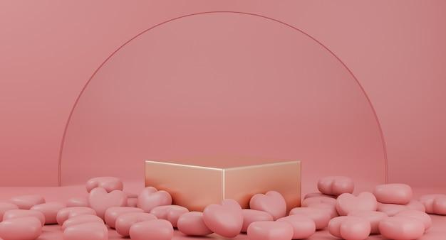 Valentijnsdag: gouden podium of productstandaard met hartensymbool van liefde op pastelroze achtergrond met kopie ruimte. 3d-weergave.