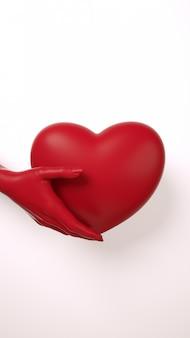 Valentijnsdag hand met hart achtergrond. donkerrode kleur op witte plat lag. hou wenskaart