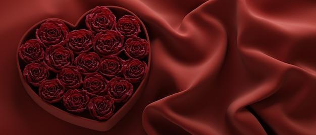 Valentijnsdag hart gemaakt van rode rozen op rode doek achtergrond voor productpresentatie 3d render